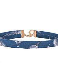 Blue Fabirc Necklace Non Stone White Feather Choker Necklaces Basic Design Unique
