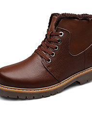 Men's Boots Winter Other Other Animal Skin Outdoor Low Heel Lace-up Black Dark Brown Walking