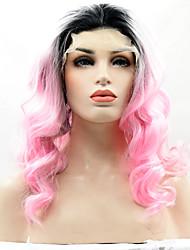 resistente due toni ombre T1b / colore rosa fibra sintetica del merletto dei capelli parrucche radice nera pizzo sintetico parrucca