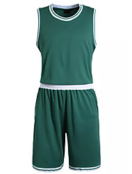 Men's Short Sleeve Basketball Running Sweatshirt Tops Baggy Shorts Breathable Sweat-wicking Comfortable White Green White GreenL XL XXL