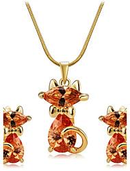 Juego de Joyas Cristal Circonita Estilo lindo Zirconia Cúbica Legierung Forma de Animal Gato Naranja 1 Collar 1 Par de Pendientes Para