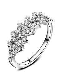 Anéis Casamento Festa Ocasião Especial Diário Casual Jóias Zircão Anéis Grossos Anel Anel de noivado 1peça,6 7 8 9 10 Prateado