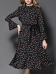 Women's Going out Holiday Vintage Chinoiserie Sheath Chiffon Dress,Floral Ruffle Crew Neck Midi Long Sleeve Flare Sleeve Polyester Black