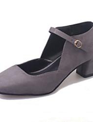 Women's Heels Spring Summer Fall Winter Comfort Light Soles Cowhide Suede Office & Career Casual Low Heel Chunky Heel Black Green Gray