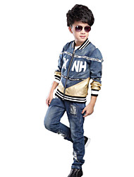 Unisex Casual/Daily School Striped Print Sets,Cotton Spring Fall Long Sleeve Clothing Set