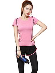 Damen Laufshirt Kurzarm Rasche Trocknung Atmungsaktiv T-shirt Oberteile für Yoga Übung & Fitness Laufen Modal Schlank Purpur Fuchsia S M