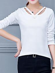 Feminino Camiseta Para Noite Formal Trabalho Vintage Moda de Rua Sofisticado Todas as Estações Primavera,Sólido Branco Preto Amarelo