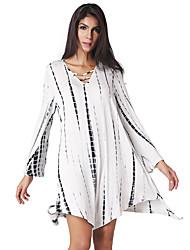 Ample Robe Femme Sortie Décontracté / Quotidien simple Chic de Rue,Imprimé Col en V Asymétrique Manches Longues Blanc PolyesterPrintemps