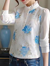 Feminino Blusa Casual Trabalho Simples Primavera Verão,Sólido Azul Branco Preto Poliéster Colarinho Chinês Manga Longa Fina