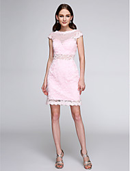 LAN TING BRIDE Short / Mini Bateau Bridesmaid Dress - See Through Short Sleeve Lace