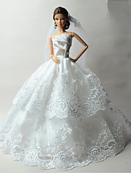 Princess Dresses For Barbie Doll White Print Dresses For Girl's Doll Toy