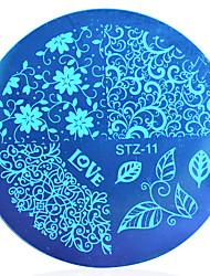 1pcs flores elegantes&folha beleza polonês da arte do prego selo imagem carimbar placas modelos da arte do prego 3D estênceis