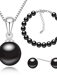 Jewelry 1 Necklace 1 Pair of Earrings 1 Bracelet Pearl Party Alloy 1set Black White Gray Wedding Gifts