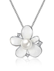 Women's Pendant Necklaces Imitation Pearl AAA Cubic Zirconia Imitation Pearl Zircon Silver Plated Gold Plated Alloy FlowerUnique Design