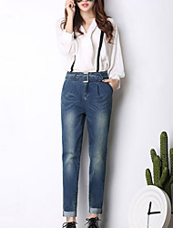 Women's Harem Jeans Pants,Going out Casual/Daily Simple Cute Solid Low Rise Zipper Button Cotton Inelastic Winter