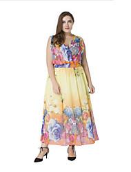 Feminino Chifon Vestido, Férias Boho Estampado Decote em V Profundo Longo Sem Manga Amarelo Poliéster Verão Cintura Alta Micro-Elástica
