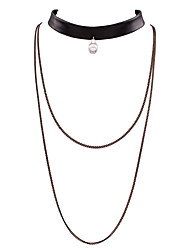 Contracted multilayer pearl necklace collar PU leather collar bone short necklace # 0305