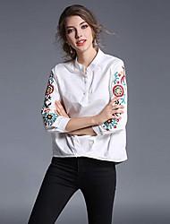 Feminino Camisa Social Casual Trabalho Simples Primavera,Estampado Branco Algodão Colarinho Chinês Manga Longa Fina