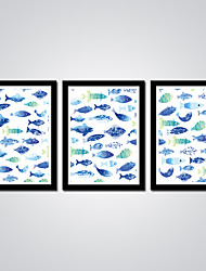 Modern Giclee Print Blue and Green Fishes Abstract Picture 3pcs/set Wall Art for Livingroom Decoration