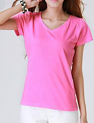 Tee-shirt Aux femmes,Couleur Pleine Décontracté / Quotidien simple Eté Manches Courtes Bleu / Rouge / Noir / Gris / JauneCoton /