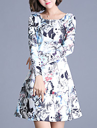 Women's Going out Chinoiserie A Line Dress,Print Round Neck Above Knee Long Sleeve Polyester White Spring High Rise Micro-elastic