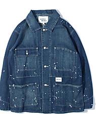 Masculino Jaqueta jeans Casual Vintage Simples Primavera Outono,Estampa Colorida Lavar do Avesso Secar no Plano Raiom Decote Redondo-