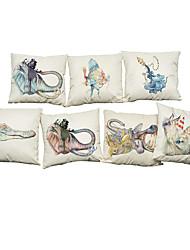 7 PC Lino Cobertor de Cojín Funda de almohada,Geométrica Floral Sólido Novedad Con TexturasReforzar Estilo playero Moderno/Contemporáneo