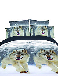 Mingjie 3D Reactive Flower And Dog Bedding Sets 4 Pcs for Queen Size Contain 1 Duvet Cover 1 Bedsheet 2 Pillowcases from China