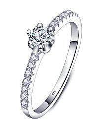 Anéis,Prata de Lei Forma Redonda Casamento / Pesta / Diário / Casual Jóias Prata de Lei / Zircão Feminino Anéis Grossos 1pç,5 / 6 / 7
