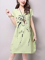 Kadın Günlük/Sade Sokak Şıklığı Salaş Elbise Kırk Yama,Kısa Kollu Yuvarlak Yaka Diz üstü Mavi Bej Yeşil Pamuklu Keten Yaz Normal Bel
