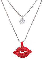 Women's Pendant Necklaces Rhinestone Simulated Diamond Alloy Jewelry Double-layer Fashion Red Jewelry Casual 1pc