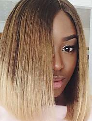 130% de densidade da Malásia cabelo virgem curto bob perucas cheias do laço em linha reta cabelo perucas dois tom ombre T1b / cor loira