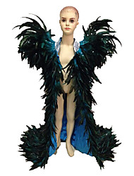 Carnival Festival/Holiday Blue Solid Cloak Carnival Kid Feather Free Size