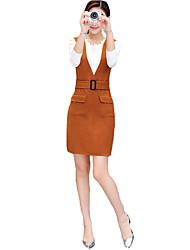 Женский На выход На каждый день Праздник Пружинный осень Вязаная ткань Платья Костюмы Круглый вырез,просто Уличный стиль утонченный