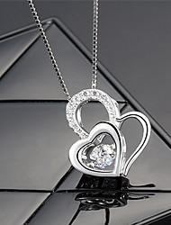 Pendants Heart Sterling Silver Zircon Cubic Zirconia Basic Unique Design Love Heart Fashion Jewelry For Daily