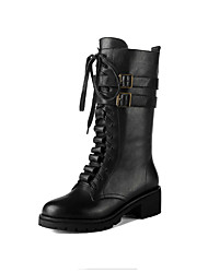Women's Boots Fall Winter Other Leatherette Office & Career Dress Casual Low Heel Chunky Heel Buckle Lace-up Black Other