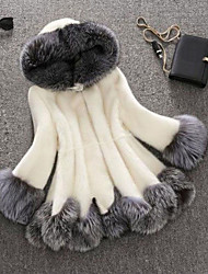 Color Block Faux Fur Raccoon Fur