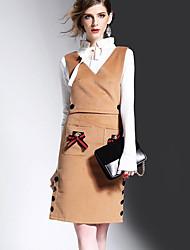 Женский На каждый день Пружинный Вязаная ткань Платья Костюмы V-образный вырез,просто Однотонный Длинные,Хлопок Обычный
