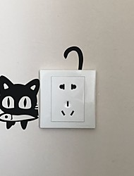 AYA DIY Wall Stickers Wall Decals Cartoon Cat SAVE ENERGY Type PVC Switch Panel Stickers 11*16cm
