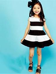 Girl's Striped Dress,Cotton Summer Sleeveless