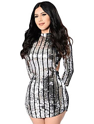 Women's Silver Sequins Hollow-out Club Dress