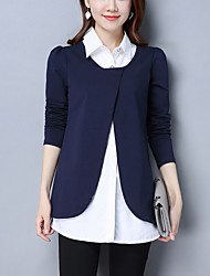 Women's Plus Size Casual/Daily Street chic Spring /Fall Loose Shirt Patchwork Shirt Collar False Two Blue /Black Cotton