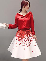 Women's Casual/Daily Work Cute Summer Shirt Skirt Suits,Print Shirt Collar Long Sleeve Polyester Regular