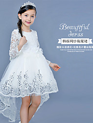 BONJEAN A-line Asymmetrical Flower Girl Dress - Lace Jewel with Bow(s) Flower(s)