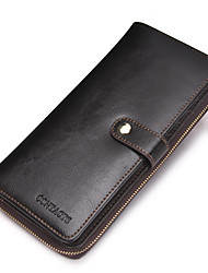 Contacts Genuine Leather Men Long Business Wallet High Capacity Card Holder Formal Casual Checkbook Cowhide