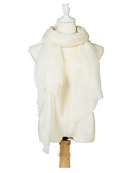 Women Wool Scarf,Party / Work / Casual Rectangle,White,Solid