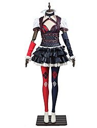 Cosplay Costumes Halloween Props Party Costume Masquerade Super Heroes Bat Cosplay Movie Cosplay Red White Black HollowTop Dress Boots