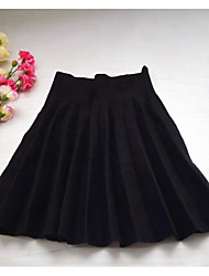 Women's Swing Solid Skirts,Going out / Casual/Daily / Party/Cocktail Mid Rise Mini Elasticity Cotton Micro-elastic Fall