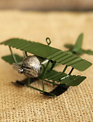 Pure manual model plane toys furnishing articles Wrought iron old handicraft Crosshair Retro Biplane model creative decoration