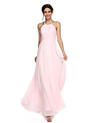 A-Line Jewel Neck Floor Length Lace Georgette Bridesmaid Dress with Lace by LAN TING BRIDE®